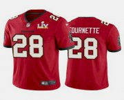 Wholesale Cheap Men's Tampa Bay Buccaneers #28 Leonard Fournette Red 2021 Super Bowl LV Limited Stitched NFL Jersey
