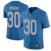 Wholesale Cheap Nike Lions #30 Jeff Okudah Blue Throwback Youth Stitched NFL Vapor Untouchable Limited Jersey