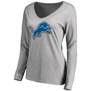 Wholesale Cheap Women's Detroit Lions Pro Line Primary Team Logo Slim Fit Long Sleeve T-Shirt Grey