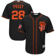 Wholesale Cheap Giants #28 Buster Posey Black 2018 Spring Training Cool Base Stitched MLB Jersey