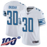 Wholesale Cheap Nike Lions #30 Jeff Okudah White Youth Stitched NFL 100th Season Vapor Untouchable Limited Jersey