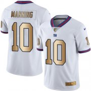 Wholesale Cheap Nike Giants #10 Eli Manning White Men's Stitched NFL Limited Gold Rush Jersey