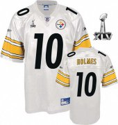 Wholesale Cheap Steelers #10 Santonio Holmes White Super Bowl XLV Stitched NFL Jersey