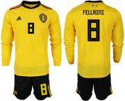 Wholesale Cheap Belgium #8 Fellaini Away Long Sleeves Soccer Country Jersey