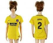 Wholesale Cheap Women's Atletico Madrid #2 Godin Away Soccer Club Jersey