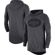 Wholesale Cheap Men's New York Jets Nike Heathered Charcoal Fan Gear Tonal Slub Hooded Long Sleeve T-Shirt