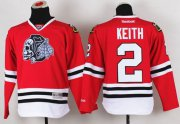 Wholesale Cheap Blackhawks #2 Duncan Keith Red(White Skull) Stitched Youth NHL Jersey