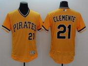 Wholesale Cheap Pirates #21 Roberto Clemente Gold Flexbase Authentic Collection Cooperstown Stitched MLB Jersey