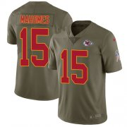 Wholesale Cheap Nike Chiefs #15 Patrick Mahomes Olive Youth Stitched NFL Limited 2017 Salute to Service Jersey