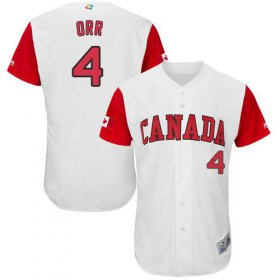Wholesale Cheap Team Canada #4 Pete Orr White 2017 World MLB Classic Authentic Stitched MLB Jersey
