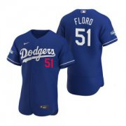 Wholesale Cheap Los Angeles Dodgers #51 Dylan Floro Royal 2020 World Series Champions Jersey