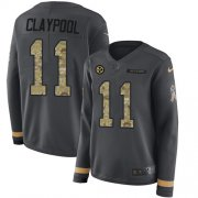 Wholesale Cheap Nike Steelers #11 Chase Claypool Anthracite Salute to Service Women's Stitched NFL Limited Therma Long Sleeve Jersey