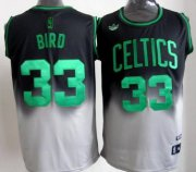 Wholesale Cheap Boston Celtics #33 Larry Bird Black/Gray Fadeaway Fashion Jersey