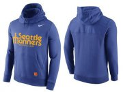 Wholesale Cheap Men's Seattle Mariners Nike Blue Cooperstown Collection Hybrid Pullover Hoodie