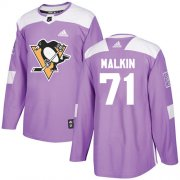 Wholesale Cheap Adidas Penguins #71 Evgeni Malkin Purple Authentic Fights Cancer Stitched NHL Jersey