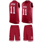 Wholesale Cheap Nike 49ers #11 Brandon Aiyuk Red Team Color Men's Stitched NFL Limited Tank Top Suit Jersey