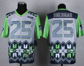 Wholesale Cheap Nike Seahawks #25 Richard Sherman Grey Men\'s Stitched NFL Elite Noble Fashion Jersey