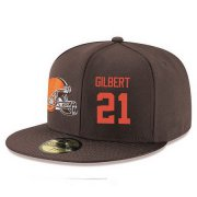 Wholesale Cheap Cleveland Browns #21 Justin Gilbert Snapback Cap NFL Player Brown with Orange Number Stitched Hat