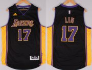 Wholesale Cheap Los Angeles Lakers #17 Jeremy Lin Revolution 30 Swingman 2014 New Black With Purple Jersey