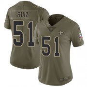 Wholesale Cheap Nike Saints #51 Cesar Ruiz Olive Women's Stitched NFL Limited 2017 Salute To Service Jersey