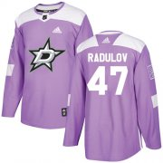 Wholesale Cheap Adidas Stars #47 Alexander Radulov Purple Authentic Fights Cancer Youth Stitched NHL Jersey