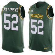 Wholesale Cheap Nike Packers #52 Clay Matthews Green Team Color Men's Stitched NFL Limited Tank Top Jersey