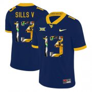Wholesale Cheap West Virginia Mountaineers 13 David Sills V Navy Fashion College Football Jersey