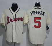 Wholesale Cheap Braves #5 Freddie Freeman Cream New Cool Base Stitched MLB Jersey