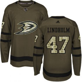 Wholesale Cheap Adidas Ducks #47 Hampus Lindholm Green Salute to Service Stitched NHL Jersey