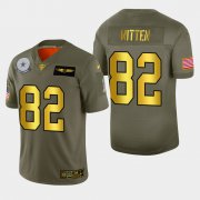 Wholesale Cheap Dallas Cowboys #82 Jason Witten Men's Nike Olive Gold 2019 Salute to Service Limited NFL 100 Jersey