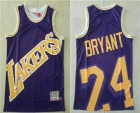 Wholesale Cheap Men\'s Los Angeles Lakers #24 Kobe Bryant Purple Big Face Mitchell Ness Hardwood Classics Soul Swingman Throwback Jersey