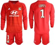 Wholesale Cheap Lyon #1 Lopes Red Goalkeeper Long Sleeves Soccer Club Jersey