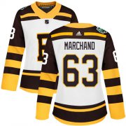 Wholesale Cheap Adidas Bruins #63 Brad Marchand White Authentic 2019 Winter Classic Women's Stitched NHL Jersey