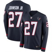 Wholesale Cheap Nike Texans #27 Duke Johnson Jr Navy Blue Team Color Youth Stitched NFL Limited Therma Long Sleeve Jersey