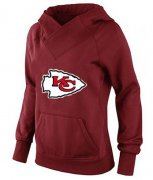 Wholesale Cheap Women's Kansas City Chiefs Logo Pullover Hoodie Red-1