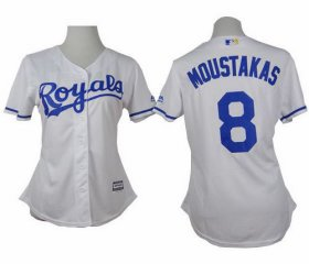 Wholesale Cheap Royals #8 Mike Moustakas White Home Women\'s Stitched MLB Jersey