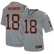 Wholesale Cheap Nike Broncos #18 Peyton Manning Lights Out Grey Youth Stitched NFL Elite Jersey