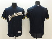 Wholesale Cheap Brewers Blank Navy Blue Flexbase Authentic Collection Stitched MLB Jersey