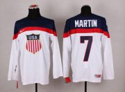 Wholesale Cheap 2014 Olympic Team USA #7 Paul Martin White Stitched NHL Jersey