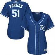 Wholesale Cheap Royals #51 Jason Vargas Royal Blue Alternate Women's Stitched MLB Jersey