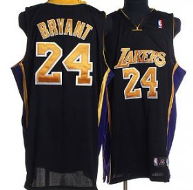 Wholesale Cheap Los Angeles Lakers #24 Kobe Bryant Black With Yellow Swingman Jersey