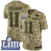 Wholesale Cheap Nike Patriots #11 Julian Edelman Camo Super Bowl LIII Bound Youth Stitched NFL Limited 2018 Salute to Service Jersey