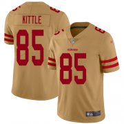 Wholesale Cheap Nike 49ers #85 George Kittle Gold Men's Stitched NFL Limited Inverted Legend Jersey