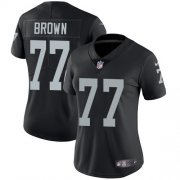 Wholesale Cheap Nike Raiders #77 Trent Brown Black Team Color Women's Stitched NFL Vapor Untouchable Limited Jersey