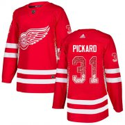 Wholesale Cheap Adidas Red Wings #31 Calvin Pickard Red Home Authentic Drift Fashion Stitched NHL Jersey