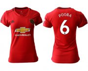 Wholesale Cheap Women's Manchester United #6 Pogba Red Home Soccer Club Jersey
