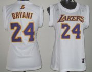 Wholesale Cheap Los Angeles Lakers #24 Kobe Bryant White Womens Jersey