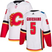Wholesale Cheap Adidas Flames #5 Mark Giordano White Road Authentic Stitched Youth NHL Jersey