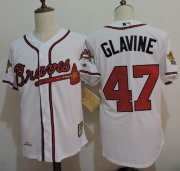 Wholesale Cheap Mitchell And Ness 1995 Braves #47 Tom Glavine White Throwback Stitched MLB Jersey