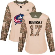 Wholesale Cheap Adidas Blue Jackets #17 Brandon Dubinsky Camo Authentic 2017 Veterans Day Women's Stitched NHL Jersey